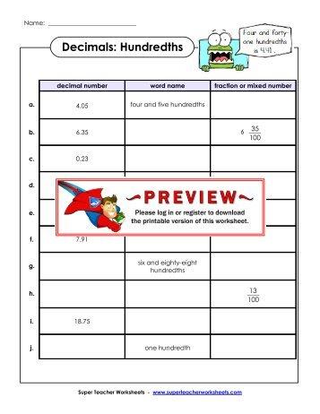 Decimals: Hundredths - Super Teacher Worksheets