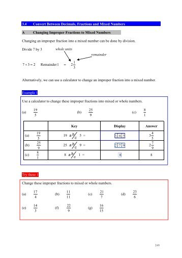3.4 Convert Between Decimals, Fractions and Mixed Numbers A ...
