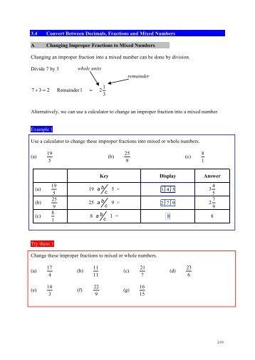 3.4 Convert Between Decimals, Fractions and Mixed Numbers A ...