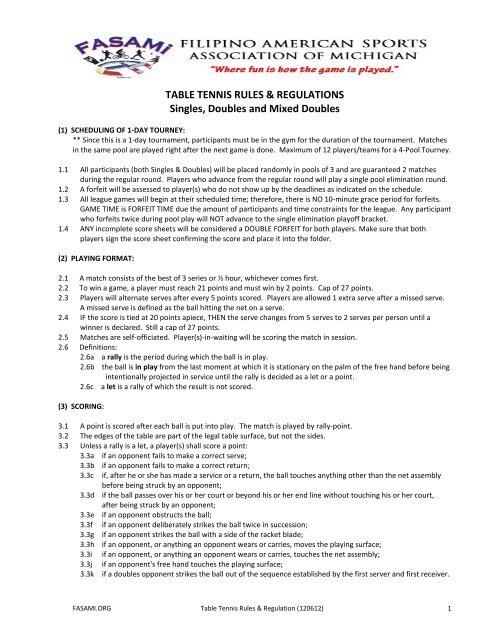 Table Tennis Rules Regulations Singles Doubles And