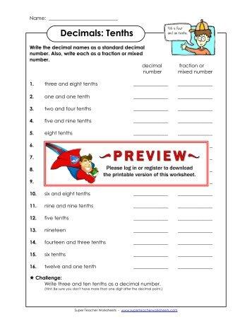 math worksheet : decimals worksheets fifty eight u003d 58 one hundred twenty five  : Super Teacher Worksheets Decimals