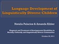 Language Development of Lingjuistically Diverse Children - Virginia ...
