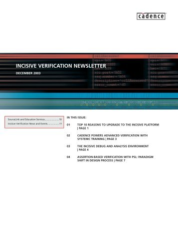 Incisive newsletter Q403 issue - Cadence
