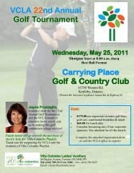 VCLA 22nd Annual Golf Tournament Carrying Place ... - Villa Charities