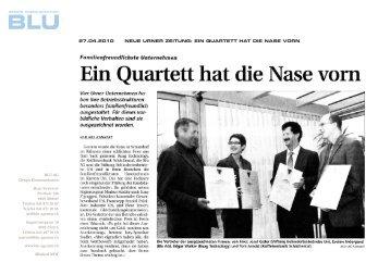 Neue Urner Zeitung: Ein Quartett hat die Nase - BLU AG