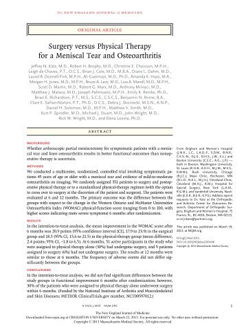Surgery versus Physical Therapy for a Meniscal Tear and Osteoarthritis