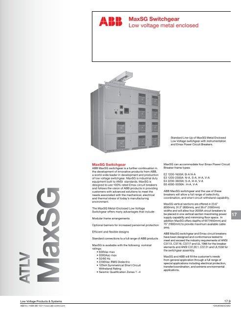 MaxSG Switchgear Low voltage metal enclosed - ABB Control