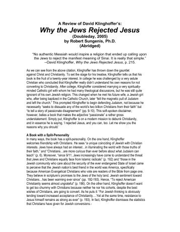 Why the Jews Rejected Jesus - Free EBooks Library