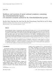 Syntheses and reactions of metal carbonyl complexes containing ...