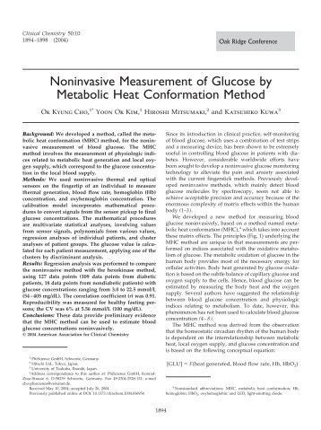 Noninvasive Measurement of Glucose by Metabolic Heat ...