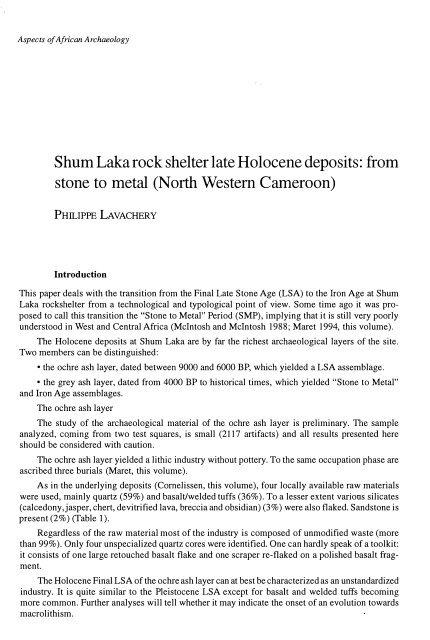 Shum Laka rock shelter late Holocene deposits: from stone to metal ...