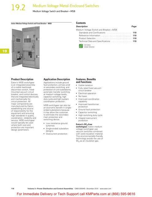 Medium Voltage Switch and Breaker—MSB - Klockner Moeller Parts
