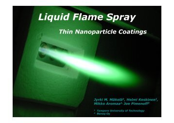 Liquid flame spray method to generate thin nanoparticle