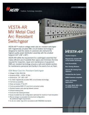 VESTA-AR MV Metal Clad Arc Resistant Switchgear - IEM