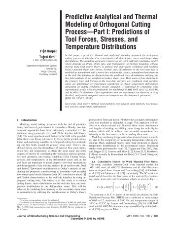 Predictive Analytical and Thermal Modeling of Orthogonal Cutting ...