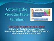 Coloring the Periodic Table - Families