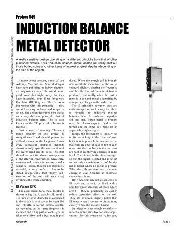 INDUCTION BALANCE METAL DETECTOR - Geotech