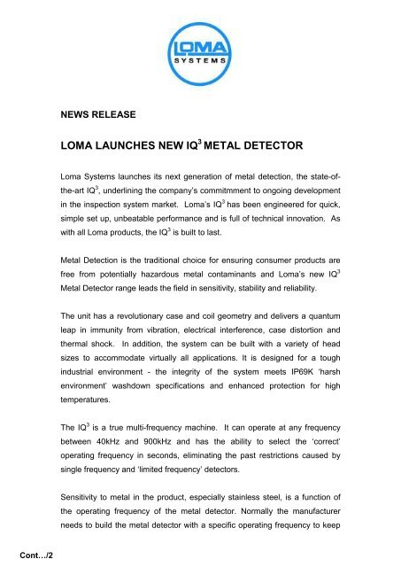 LOMA LAUNCHES NEW IQ METAL DETECTOR - Loma Systems