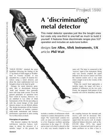 A discriminating metal detector - Geotech