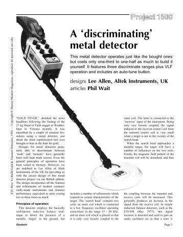 A discriminating metal detector - Geotech