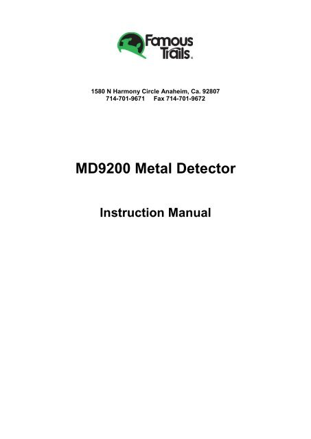 MD9200 Metal Detector Famous Trails