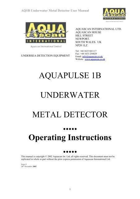 Aquapulse 1b Underwater Metal Detector Operating