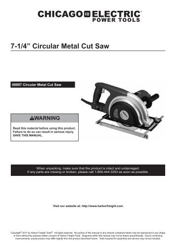 "7-1/4"" Circular Metal Cut Saw - Harbor Freight Tools"