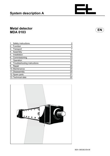 System Description A En Metal Detector Mda 0103 Erhardt Leimer