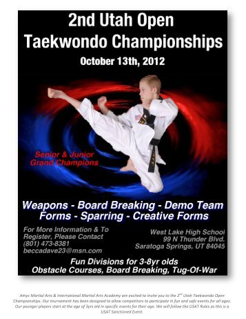 2nd Utah Open TKD Championship - International Martial Arts ...