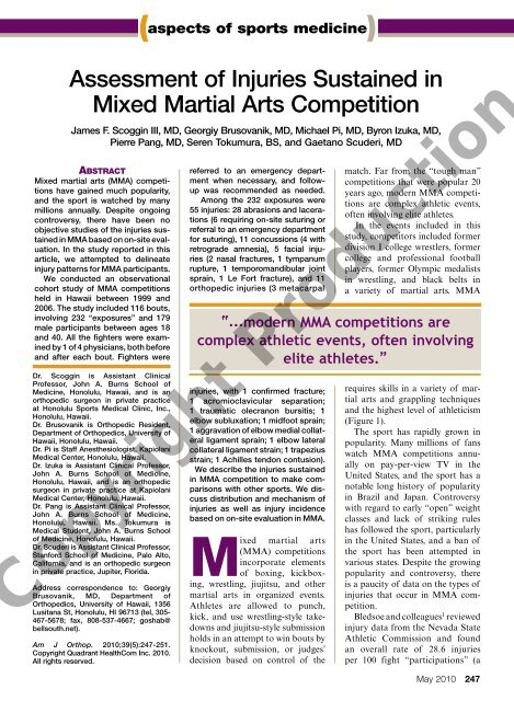 Assessment of Injuries Sustained in Mixed Martial Arts
