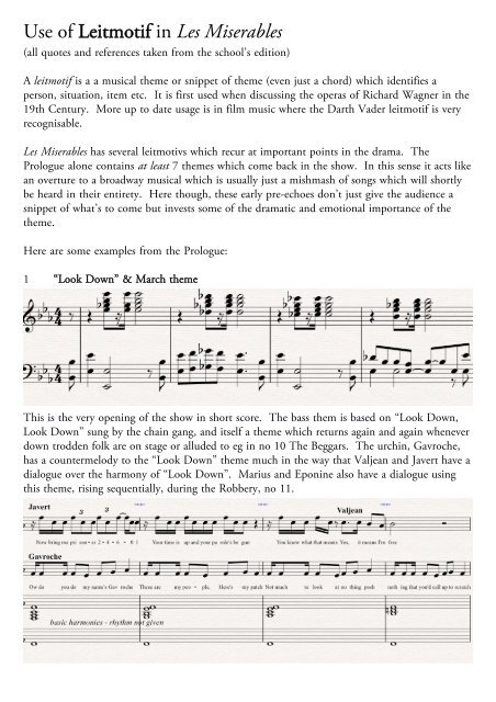 Use Of Leitmotif In Les Miserables Notes Analysis Essays For