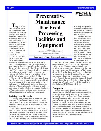 MF2041 Preventative Maintenance for Feed Processing Facilities ...