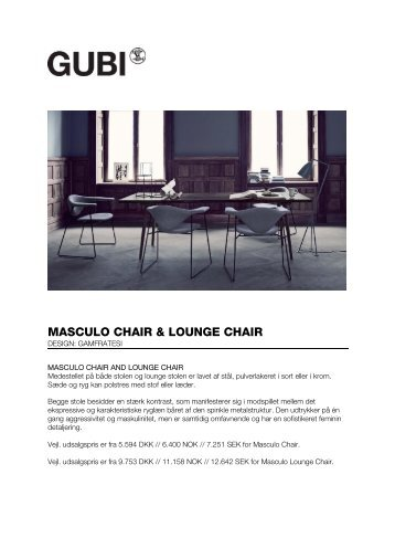MASCULO CHAIR & LOUNGE CHAIR - Gubi