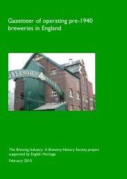 Gazetteer of operating pre-1940 breweries in ... - English Heritage