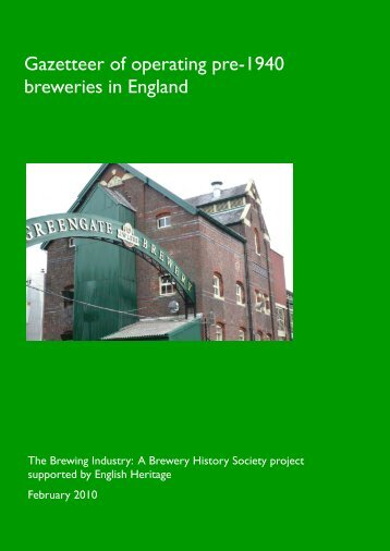 Gazetteer of operating pre-1940 breweries in ... - English Heritage