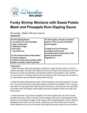 Funky Shrimp Wontons with Sweet Potato Mash and Pineapple Rum ...