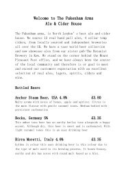 Drinks List - Pakenham Arms