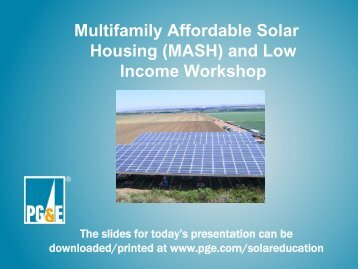 Multifamily Affordable Solar Housing (MASH) And Low Income