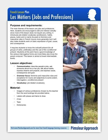 French Lesson Plan Les Métiers (Jobs And Professions - Pimsleur ...