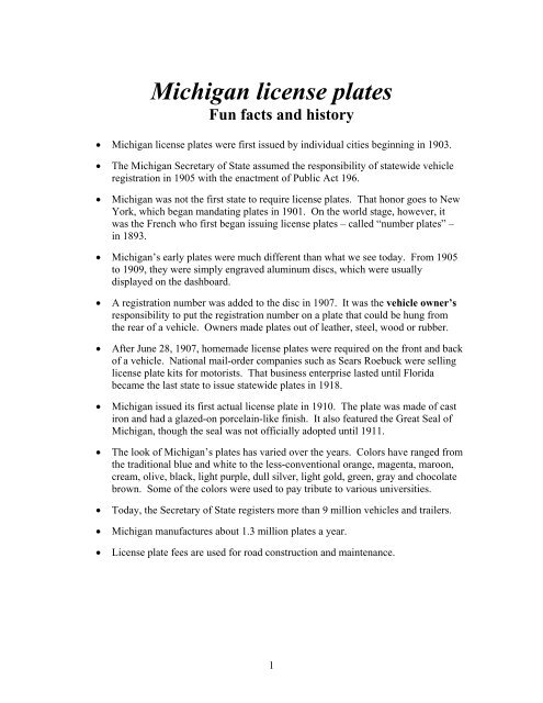 Michigan license plates - Fun Facts and