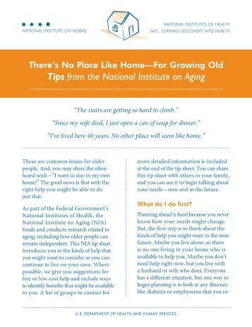 There's No Place Like Home -- For Growing Old - National Institute ...