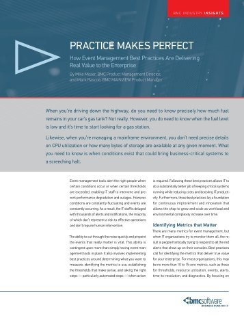 PraCtiCe makes PerfeCt - BMC Software