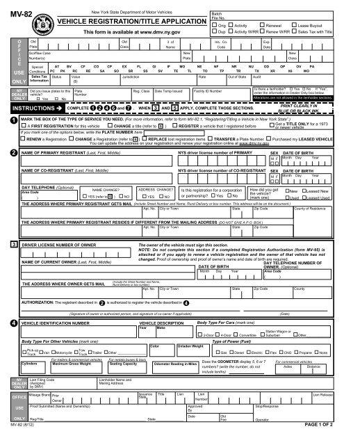 Vehicle Registration Title Application Dmv New York State
