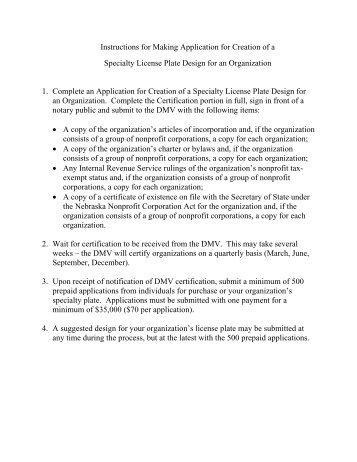 instructions for making application for creation of a nebraska