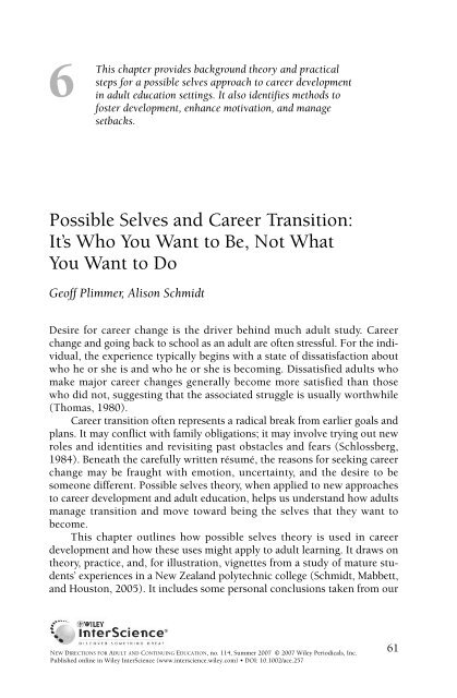 Possible selves and career transition: It's who you ... - FutureSelves