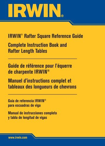 IRWIN® Rafter Square Reference Guide Complete Instruction Book ...