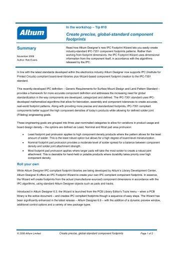 Create precise, global-standard component footprints ... - Altium