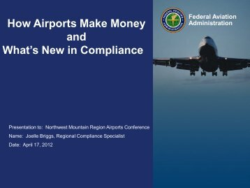 How Airports Make Money and What's New in Compliance - FAA