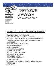 Preisliste - Metzger Getränke AG