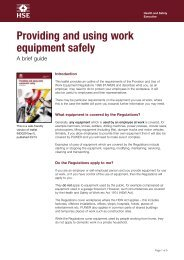 Provision and Use of Work Equipment Regulations - HSE
